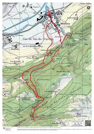Môtiers - La carte sur Swisstopos