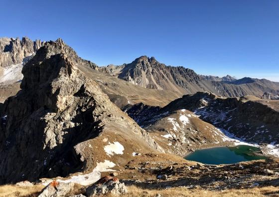 Au-dessus du Lac Blanc- vue sur le Col de la Ponsonnière