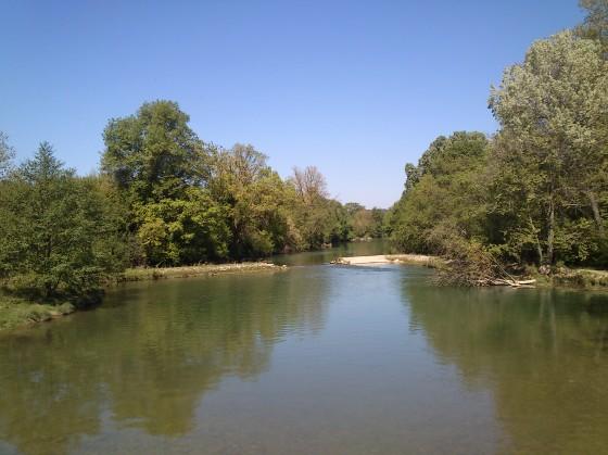 Moulin de Pattes vers l'amont sur le Vidourle