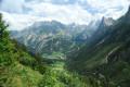 Dans la montée au Petit Mont-Blanc, vue vers Pralognan et la Vanoise