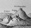 Engraving by Merian showing the three castles in 1663