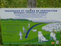 "Info boards regarding the ""patou"" guard dogs."