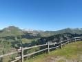 L to R: Mont Lachat; grassy ridge behind, Tete d'Auferrand, Pointe de Deux Heures, Pointe de la Grande Combe, Point d'Almet; Bornes mountains behind.