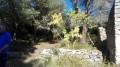 Les ruines de la baraque et son réservoir d'eau.
