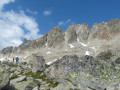 Moraine crest leading to the Cabane d'Orny. Aiguilles d'Arpette above