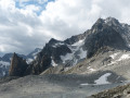 Petit Clocher du Portalet and Le Portalet. The end of the Glacier d'Orny below