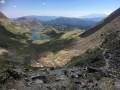 Vue des étangs de Bouillouses depuis la montée au Carlit