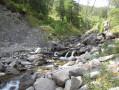 Vue en aval de la cascade, et la Clarée impétueuse.