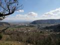 Vue sur la vallée du Rhône, et la confluence entre le Rhône et le Doux