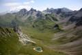 Vue sur le Mont-Blanc et les pierriers sous la Pierra Menta